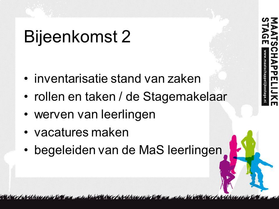 Bijeenkomst 2 inventarisatie stand van zaken rollen en taken / de Stagemakelaar werven van leerlingen vacatures maken begeleiden van de MaS leerlingen