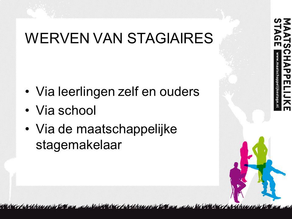 WERVEN VAN STAGIAIRES Via leerlingen zelf en ouders Via school Via de maatschappelijke stagemakelaar