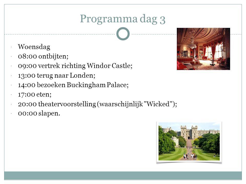 Programma dag 3  Woensdag  08:00 ontbijten;  09:00 vertrek richting Windor Castle;  13:00 terug naar Londen;  14:00 bezoeken Buckingham Palace;  17:00 eten;  20:00 theatervoorstelling (waarschijnlijk Wicked );  00:00 slapen.