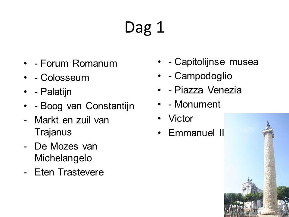 Dag 1 - Forum Romanum - Colosseum - Palatijn - Boog van Constantijn -Markt en zuil van Trajanus -De Mozes van Michelangelo -Eten Trastevere - Capitolijnse musea - Campodoglio - Piazza Venezia - Monument Victor Emmanuel II