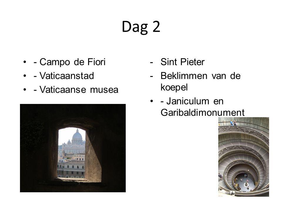 Dag 2 - Campo de Fiori - Vaticaanstad - Vaticaanse musea -Sint Pieter -Beklimmen van de koepel - Janiculum en Garibaldimonument