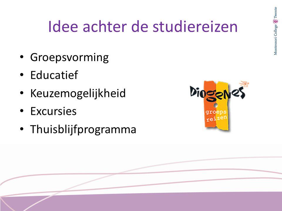 Idee achter de studiereizen Groepsvorming Educatief Keuzemogelijkheid Excursies Thuisblijfprogramma