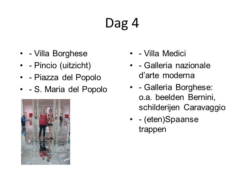 Dag 4 - Villa Borghese - Pincio (uitzicht) - Piazza del Popolo - S. Maria del Popolo - Villa Medici - Galleria nazionale d'arte moderna - Galleria Bor