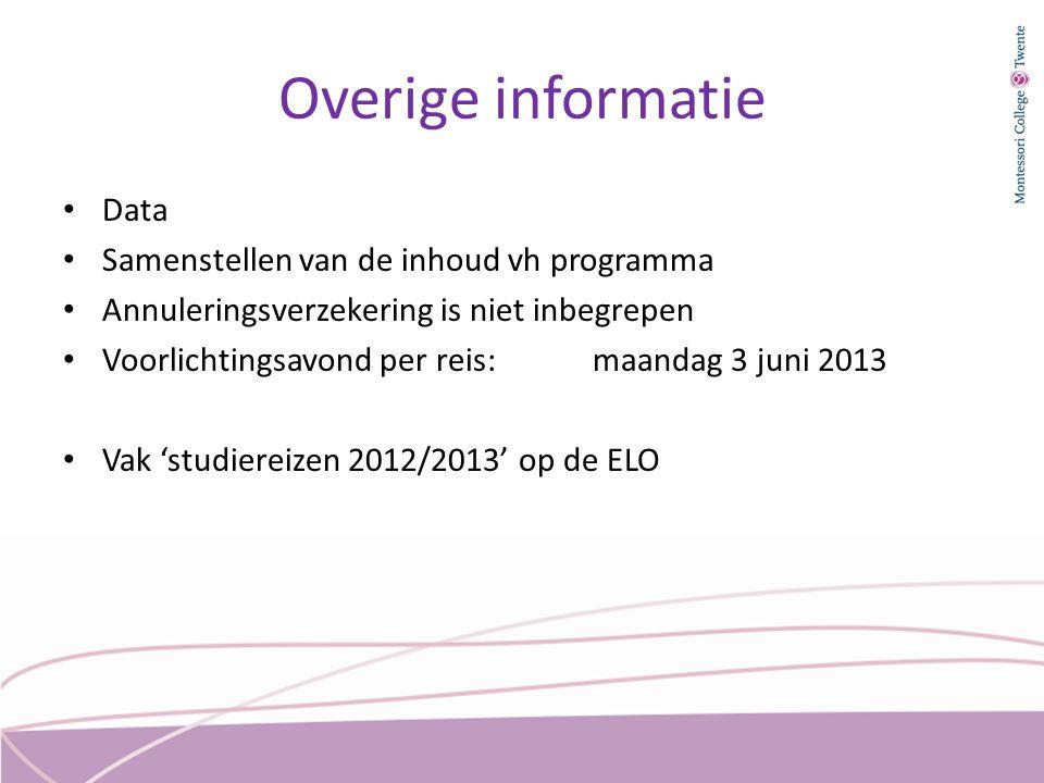 Overige informatie Data Samenstellen van de inhoud vh programma Annuleringsverzekering is niet inbegrepen Voorlichtingsavond per reis: maandag 3 juni 2013 Vak 'studiereizen 2012/2013' op de ELO