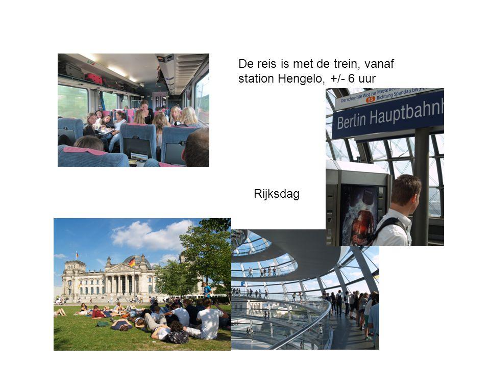 De reis is met de trein, vanaf station Hengelo, +/- 6 uur Rijksdag