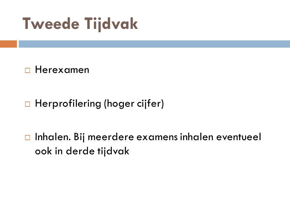 Tweede Tijdvak  Herexamen  Herprofilering (hoger cijfer)  Inhalen. Bij meerdere examens inhalen eventueel ook in derde tijdvak
