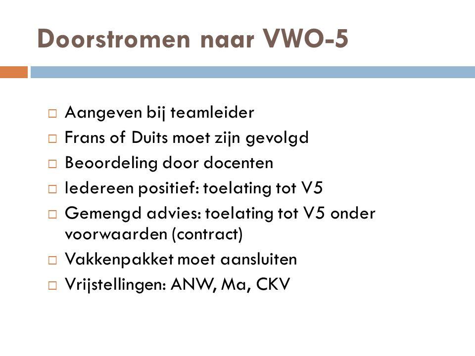 Doorstromen naar VWO-5  Aangeven bij teamleider  Frans of Duits moet zijn gevolgd  Beoordeling door docenten  Iedereen positief: toelating tot V5
