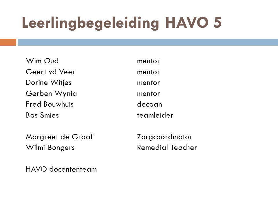 Leerlingbegeleiding HAVO 5 Wim Oudmentor Geert vd Veermentor Dorine Witjesmentor Gerben Wyniamentor Fred Bouwhuisdecaan Bas Smiesteamleider Margreet d