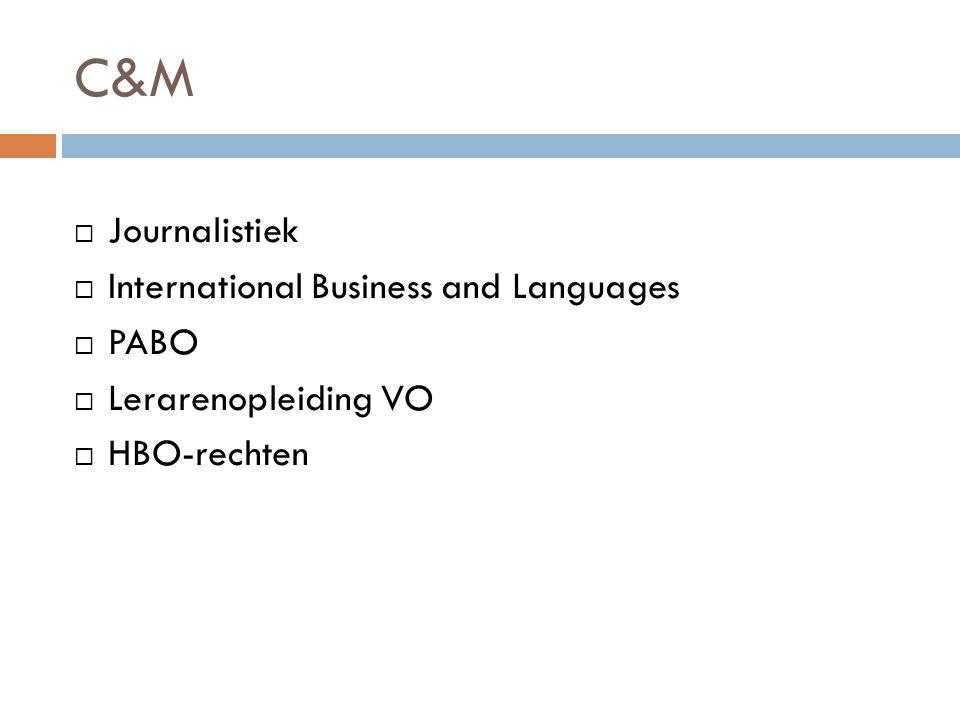 C&M  Journalistiek  International Business and Languages  PABO  Lerarenopleiding VO  HBO-rechten