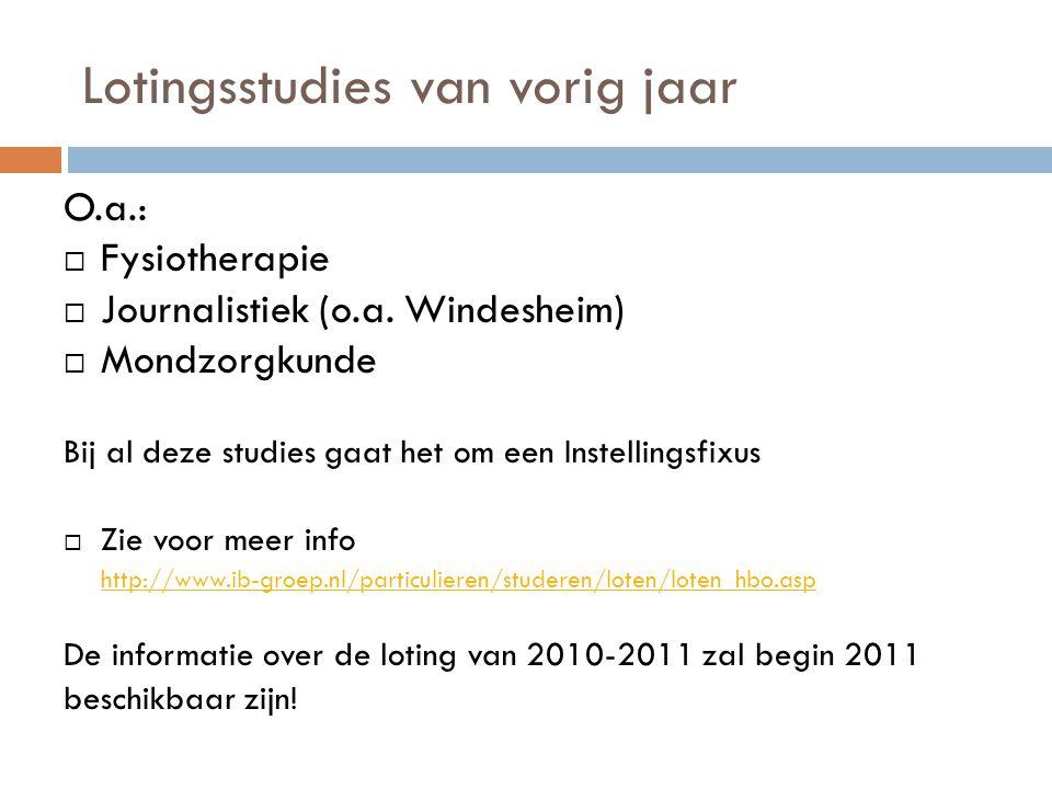 Lotingsstudies van vorig jaar O.a.:  Fysiotherapie  Journalistiek (o.a. Windesheim)  Mondzorgkunde Bij al deze studies gaat het om een Instellingsf