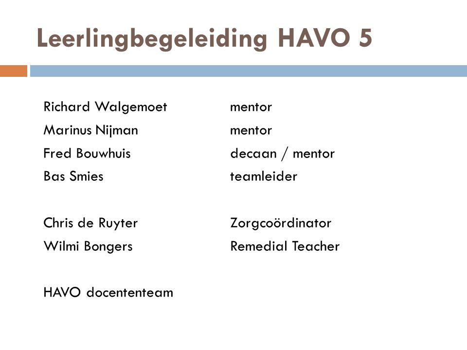 Leerlingbegeleiding HAVO 5 Richard Walgemoetmentor Marinus Nijmanmentor Fred Bouwhuisdecaan / mentor Bas Smiesteamleider Chris de RuyterZorgcoördinato