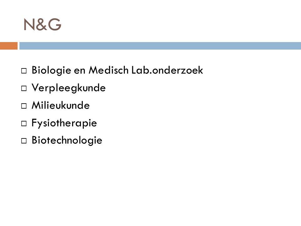 N&G  Biologie en Medisch Lab.onderzoek  Verpleegkunde  Milieukunde  Fysiotherapie  Biotechnologie