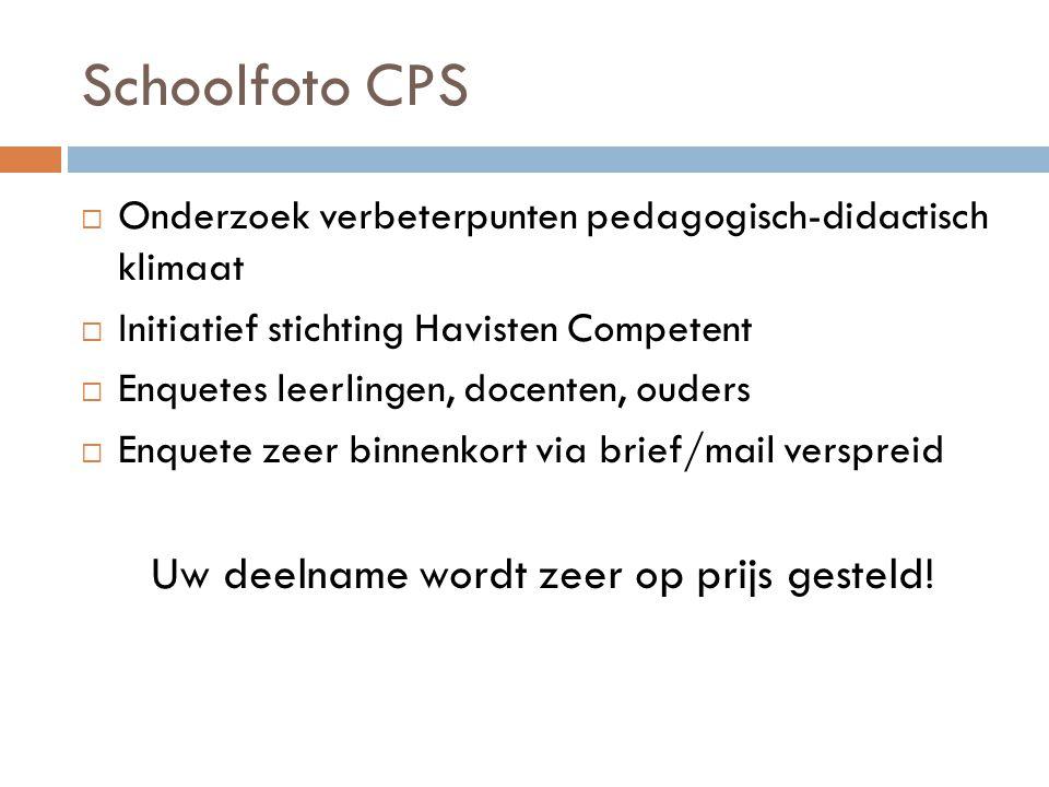 Schoolfoto CPS  Onderzoek verbeterpunten pedagogisch-didactisch klimaat  Initiatief stichting Havisten Competent  Enquetes leerlingen, docenten, ou