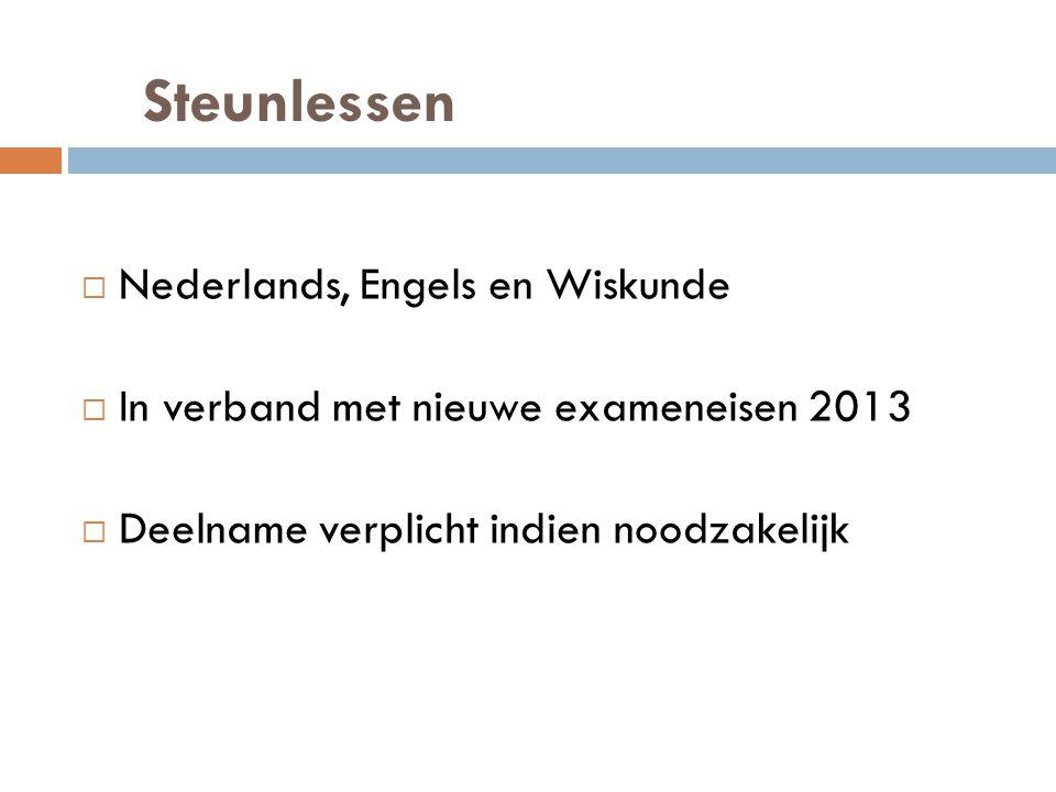 Steunlessen  Nederlands, Engels en Wiskunde  In verband met nieuwe exameneisen 2013  Deelname verplicht indien noodzakelijk