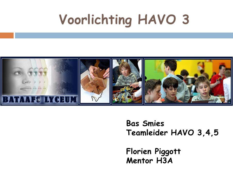 Voorlichting HAVO 3 Bas Smies Teamleider HAVO 3,4,5 Florien Piggott Mentor H3A