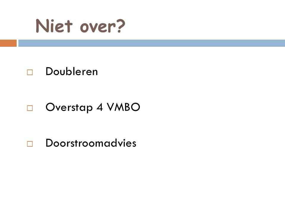 Niet over?  Doubleren  Overstap 4 VMBO  Doorstroomadvies