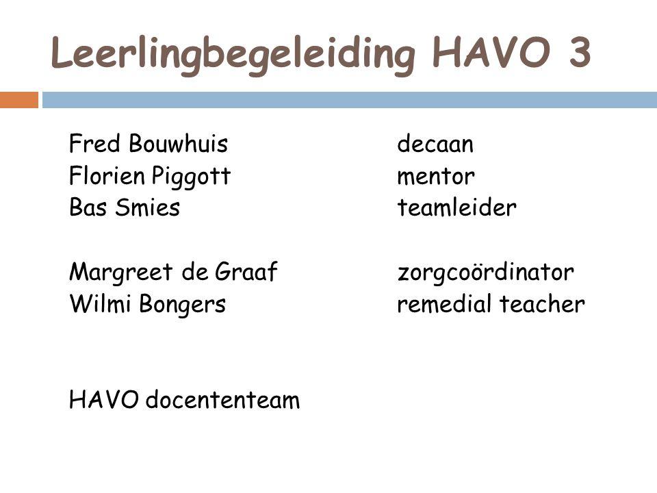Leerlingbegeleiding HAVO 3 Fred Bouwhuisdecaan Florien Piggottmentor Bas Smiesteamleider Margreet de Graafzorgcoördinator Wilmi Bongersremedial teache