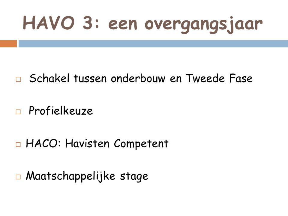 HAVO 3: een overgangsjaar  Schakel tussen onderbouw en Tweede Fase  Profielkeuze  HACO: Havisten Competent  Maatschappelijke stage