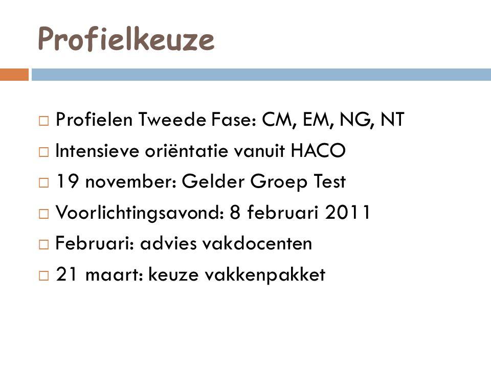 Profielkeuze  Profielen Tweede Fase: CM, EM, NG, NT  Intensieve oriëntatie vanuit HACO  19 november: Gelder Groep Test  Voorlichtingsavond: 8 febr