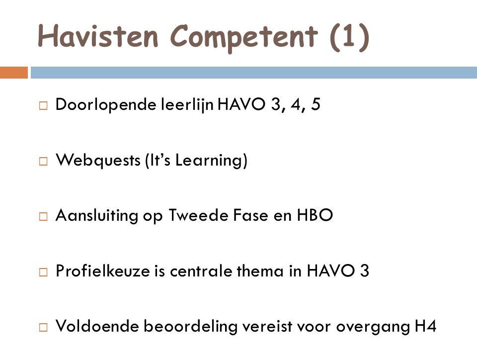 Havisten Competent (2) Vaardigheden staan centraal:  Plannen, eigen werk organiseren  Communiceren  Presenteren  Omgaan met informatie  Onderzoek doen  Samenwerken  Reflecteren