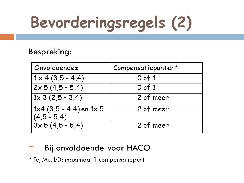 Bevorderingsregels (2) Bespreking:  Bij onvoldoende voor HACO * Te, Mu, LO: maximaal 1 compensatiepunt OnvoldoendesCompensatiepunten* 1 x 4 (3,5 – 4,