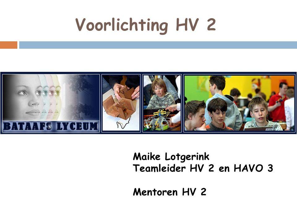 Voorlichting HV 2 Maike Lotgerink Teamleider HV 2 en HAVO 3 Mentoren HV 2