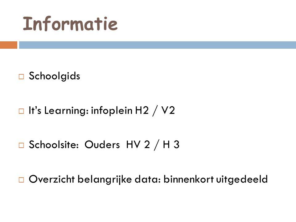 Informatie  Schoolgids  It's Learning: infoplein H2 / V2  Schoolsite: Ouders HV 2 / H 3  Overzicht belangrijke data: binnenkort uitgedeeld
