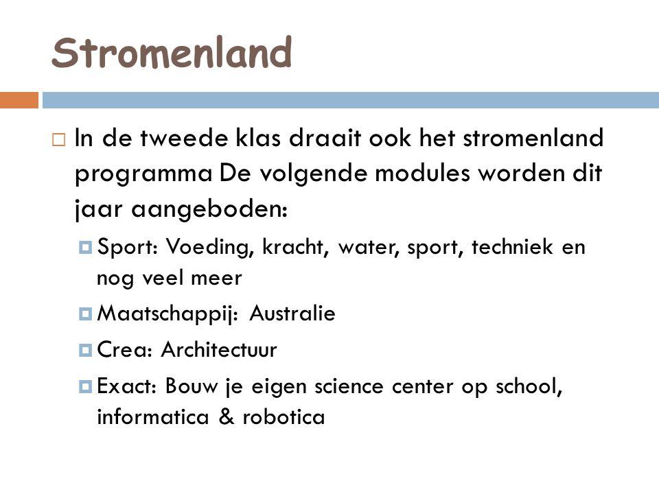Stromenland  In de tweede klas draait ook het stromenland programma De volgende modules worden dit jaar aangeboden:  Sport: Voeding, kracht, water,
