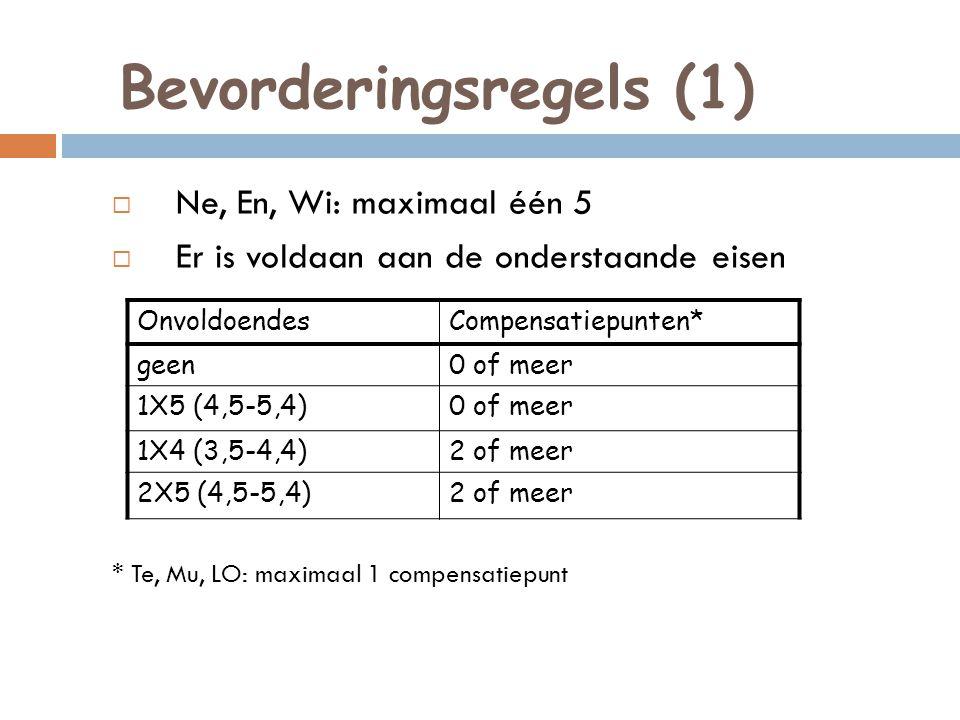 Bevorderingsregels (1)  Ne, En, Wi: maximaal één 5  Er is voldaan aan de onderstaande eisen * Te, Mu, LO: maximaal 1 compensatiepunt OnvoldoendesCom