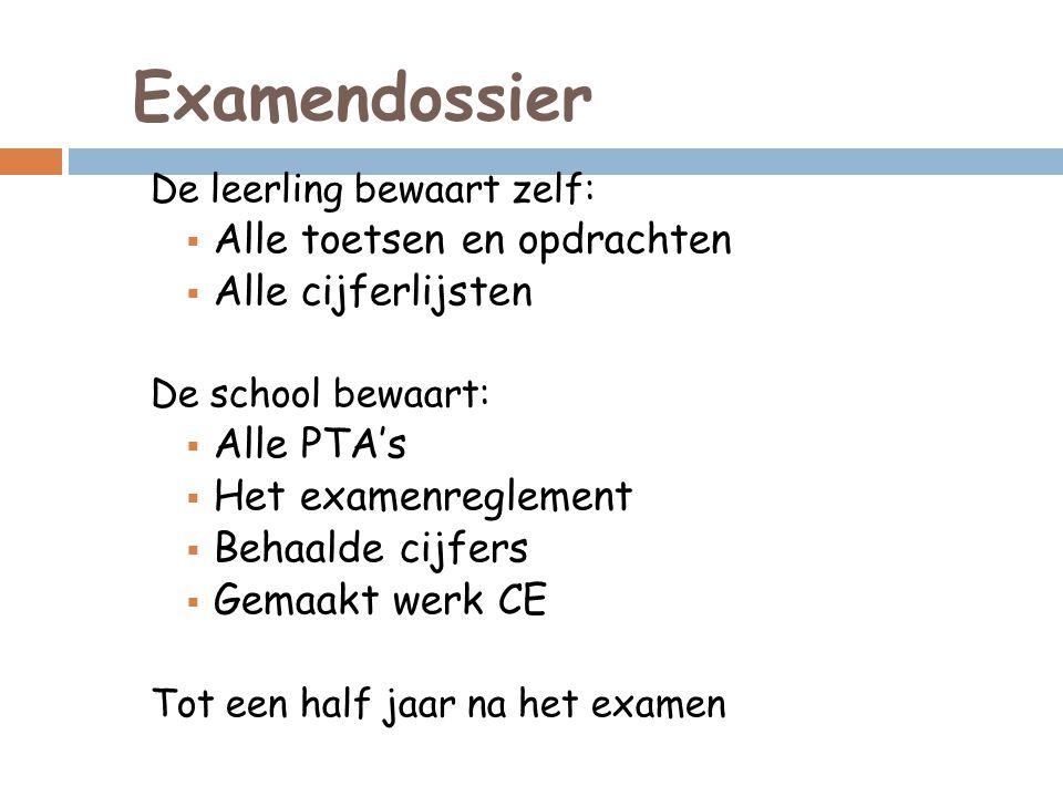 Examendossier De leerling bewaart zelf:  Alle toetsen en opdrachten  Alle cijferlijsten De school bewaart:  Alle PTA's  Het examenreglement  Beha