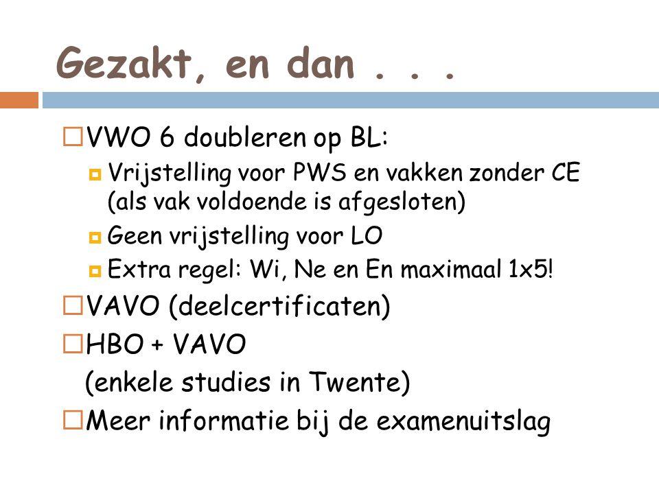 Gezakt, en dan...  VWO 6 doubleren op BL:  Vrijstelling voor PWS en vakken zonder CE (als vak voldoende is afgesloten)  Geen vrijstelling voor LO 