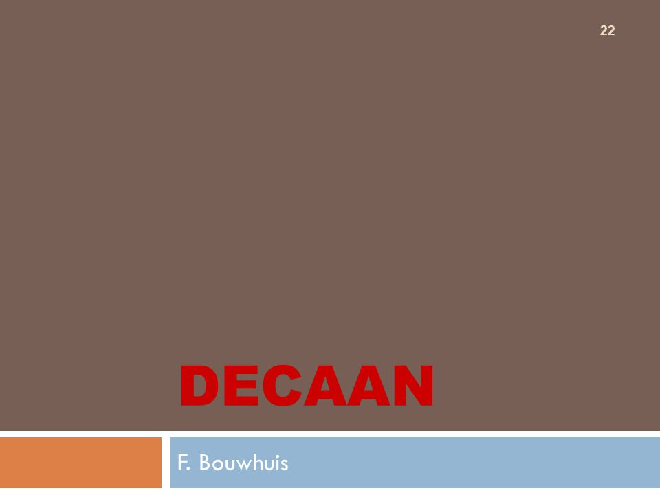 22 DECAAN F. Bouwhuis