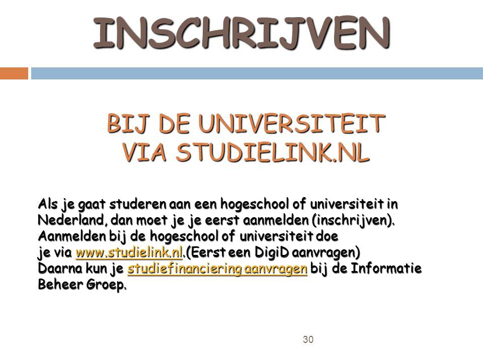 30 INSCHRIJVEN BIJ DE UNIVERSITEIT VIA STUDIELINK.NL Als je gaat studeren aan een hogeschool of universiteit in Nederland, dan moet je je eerst aanmelden (inschrijven).