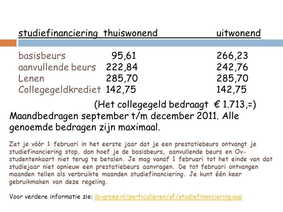 (Het collegegeld bedraagt € 1.713,=) Maandbedragen september t/m december 2011. Alle genoemde bedragen zijn maximaal. Zet je vóór 1 februari in het ee