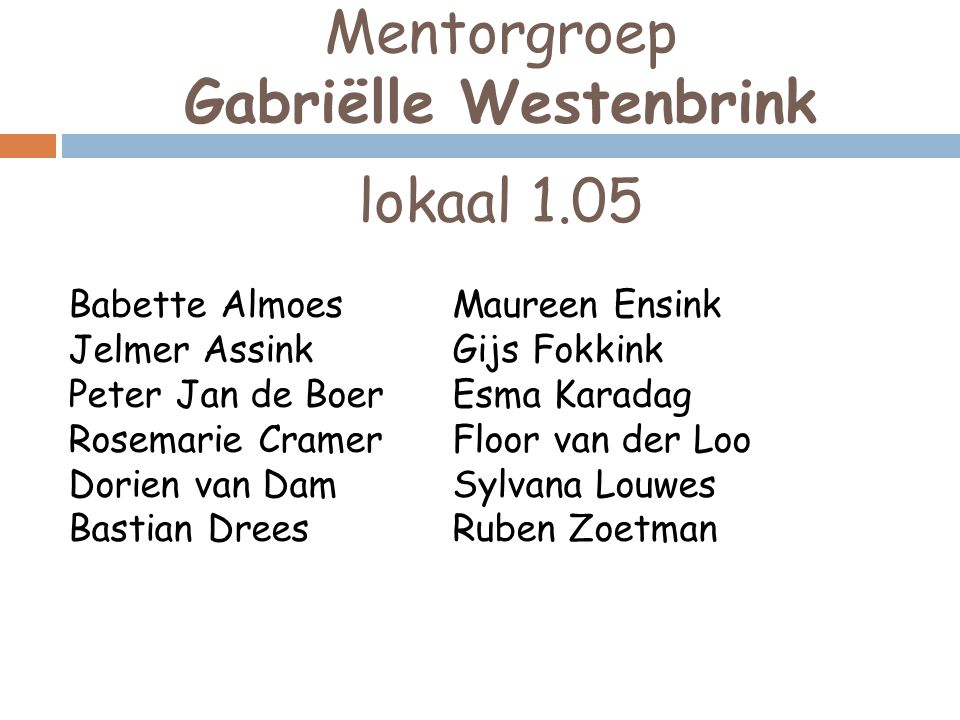 Mentorgroep Gabriëlle Westenbrink lokaal 1.05 Babette Almoes Jelmer Assink Peter Jan de Boer Rosemarie Cramer Dorien van Dam Bastian Drees Maureen Ens
