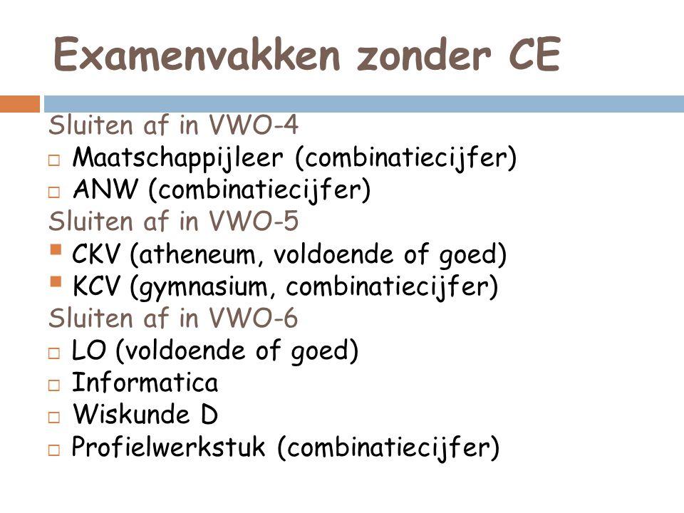 Examenvakken zonder CE Sluiten af in VWO-4  Maatschappijleer (combinatiecijfer)  ANW (combinatiecijfer) Sluiten af in VWO-5  CKV (atheneum, voldoen
