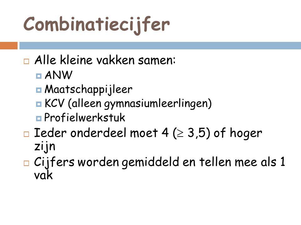 Combinatiecijfer  Alle kleine vakken samen:  ANW  Maatschappijleer  KCV (alleen gymnasiumleerlingen)  Profielwerkstuk  Ieder onderdeel moet 4 (  3,5) of hoger zijn  Cijfers worden gemiddeld en tellen mee als 1 vak