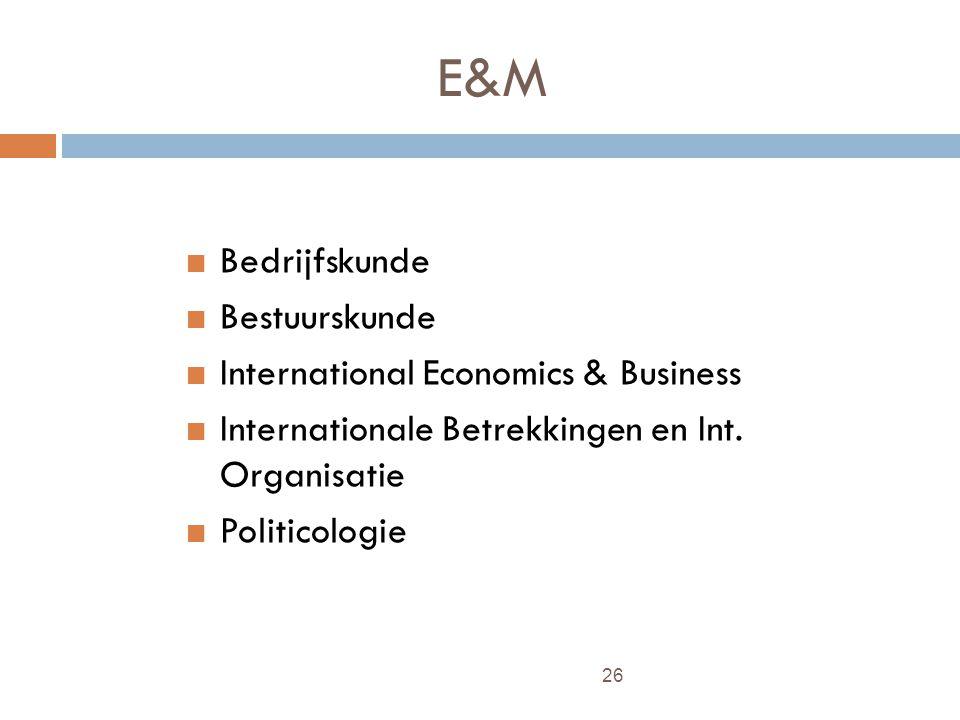 26 E&M Bedrijfskunde Bestuurskunde International Economics & Business Internationale Betrekkingen en Int.