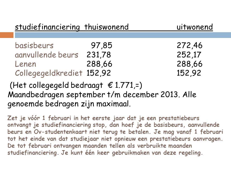 (Het collegegeld bedraagt € 1.771,=) Maandbedragen september t/m december 2013.