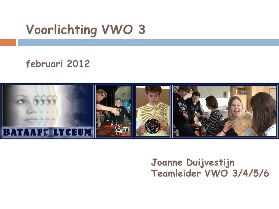 Voorlichting VWO 3 februari 2012 Joanne Duijvestijn Teamleider VWO 3/4/5/6