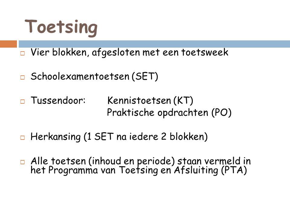 Toetsing  Vier blokken, afgesloten met een toetsweek  Schoolexamentoetsen (SET)  Tussendoor: Kennistoetsen (KT) Praktische opdrachten (PO)  Herkansing (1 SET na iedere 2 blokken)  Alle toetsen (inhoud en periode) staan vermeld in het Programma van Toetsing en Afsluiting (PTA)
