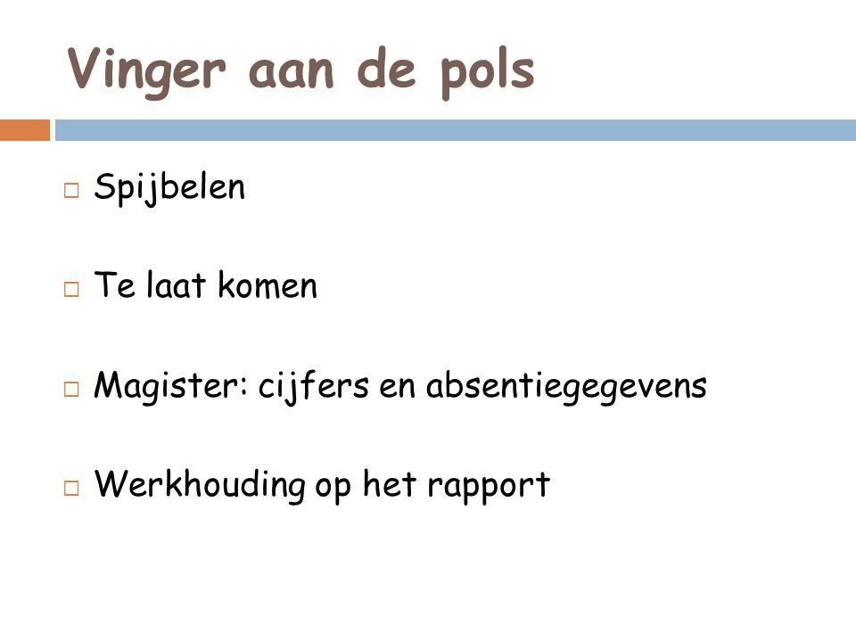 Vinger aan de pols  Spijbelen  Te laat komen  Magister: cijfers en absentiegegevens  Werkhouding op het rapport