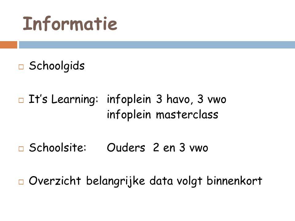 Informatie  Schoolgids  It's Learning: infoplein 3 havo, 3 vwo infoplein masterclass  Schoolsite: Ouders 2 en 3 vwo  Overzicht belangrijke data vo