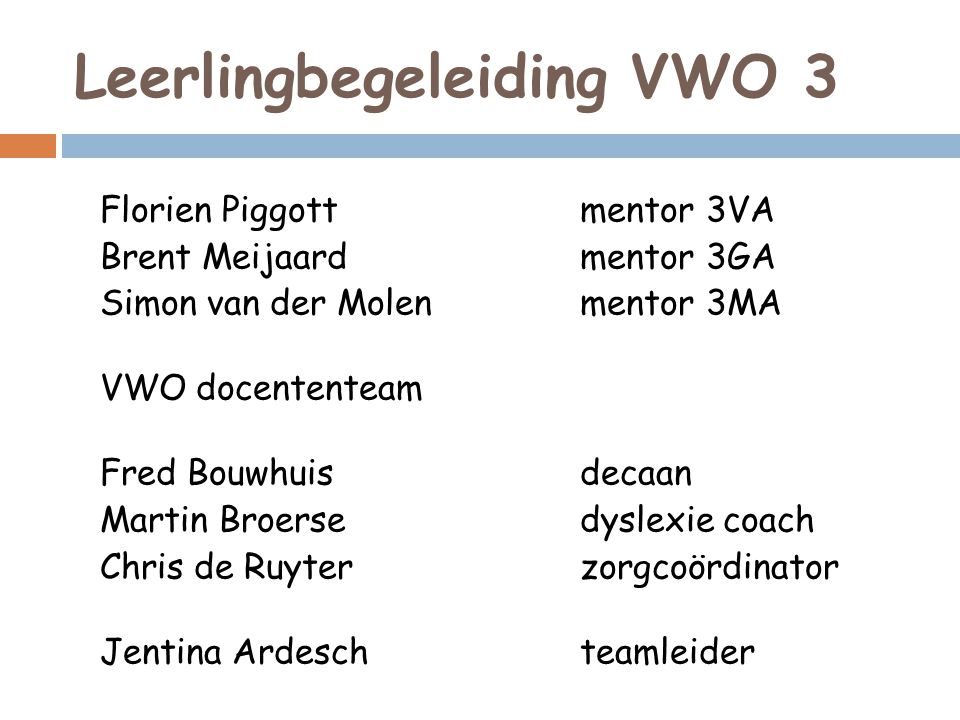Leerlingbegeleiding VWO 3 Florien Piggottmentor 3VA Brent Meijaardmentor 3GA Simon van der Molenmentor 3MA VWO docententeam Fred Bouwhuisdecaan Martin