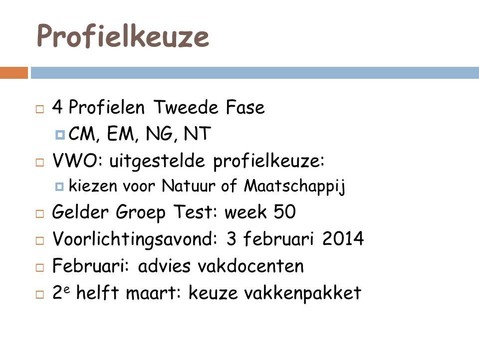 Profielkeuze  4 Profielen Tweede Fase  CM, EM, NG, NT  VWO: uitgestelde profielkeuze:  kiezen voor Natuur of Maatschappij  Gelder Groep Test: wee