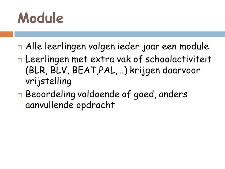 Module  Alle leerlingen volgen ieder jaar een module  Leerlingen met extra vak of schoolactiviteit (BLR, BLV, BEAT,PAL,…) krijgen daarvoor vrijstell