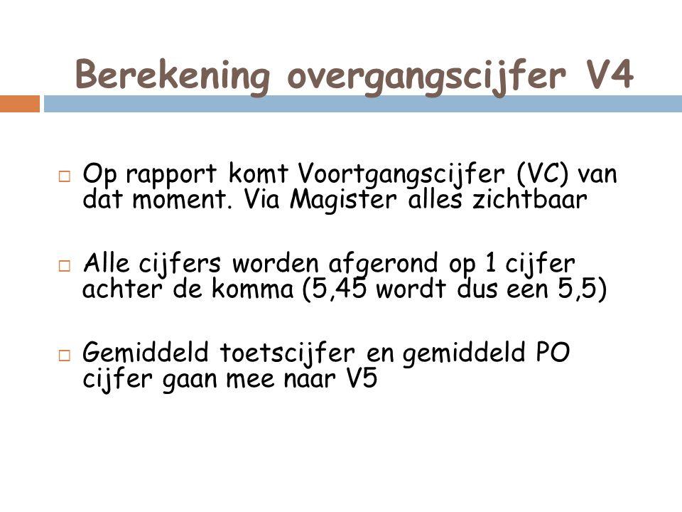 Berekening overgangscijfer V4  Op rapport komt Voortgangscijfer (VC) van dat moment. Via Magister alles zichtbaar  Alle cijfers worden afgerond op 1