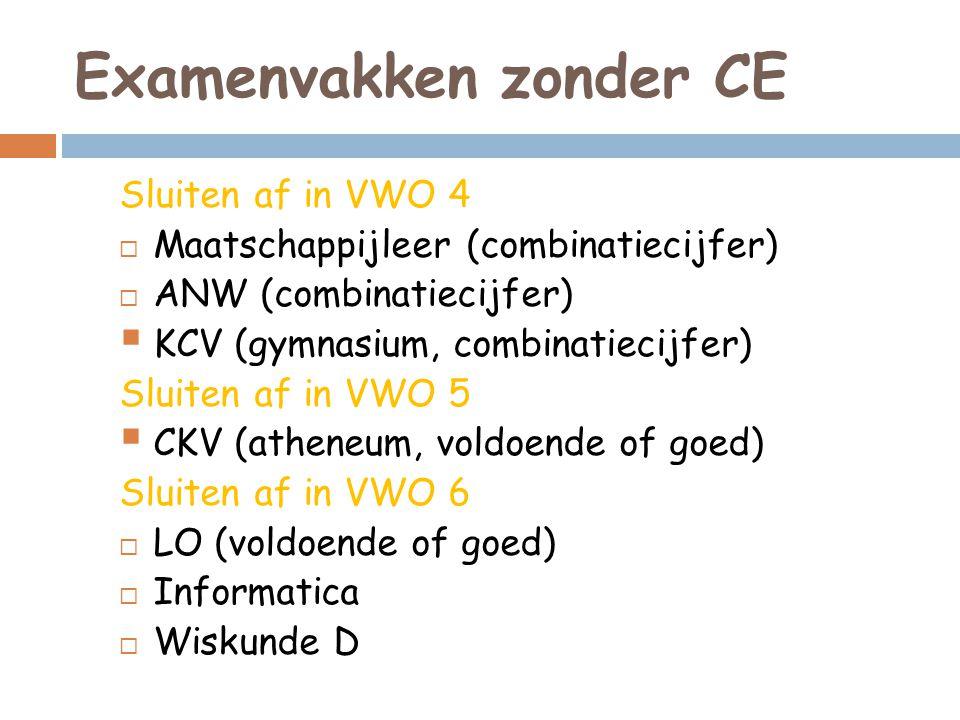 Examenvakken zonder CE Sluiten af in VWO 4  Maatschappijleer (combinatiecijfer)  ANW (combinatiecijfer)  KCV (gymnasium, combinatiecijfer) Sluiten