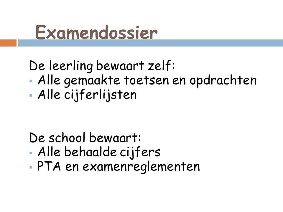 Examendossier De leerling bewaart zelf:  Alle gemaakte toetsen en opdrachten  Alle cijferlijsten De school bewaart:  Alle behaalde cijfers  PTA en