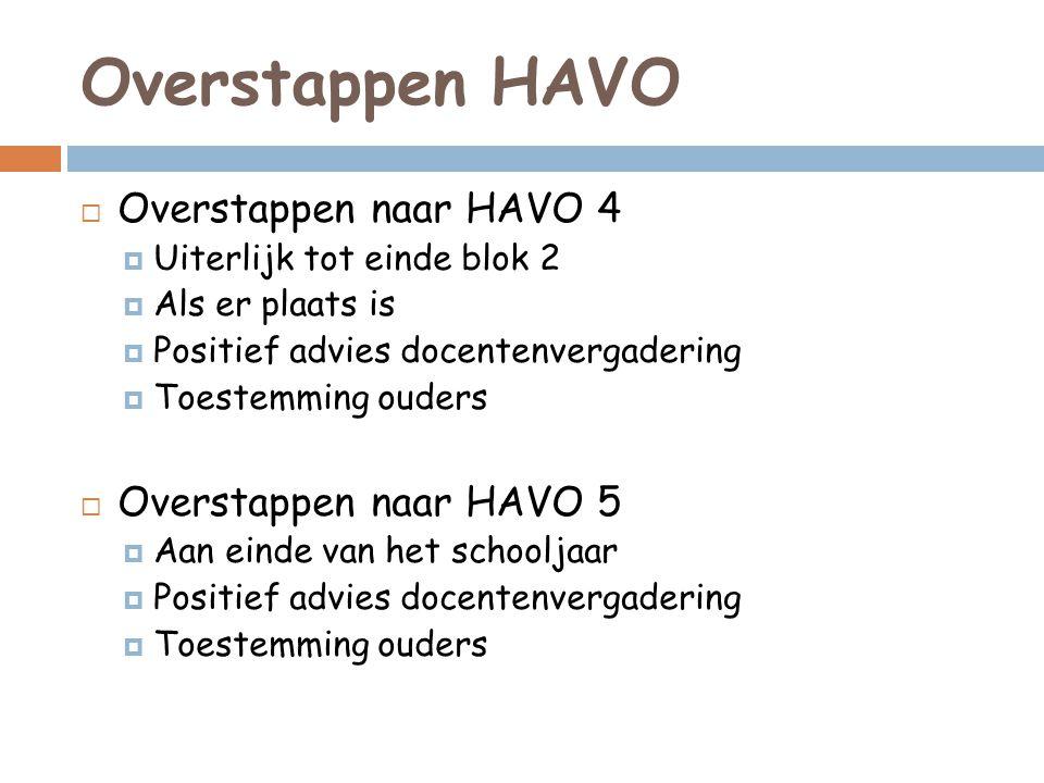 Overstappen HAVO  Overstappen naar HAVO 4  Uiterlijk tot einde blok 2  Als er plaats is  Positief advies docentenvergadering  Toestemming ouders